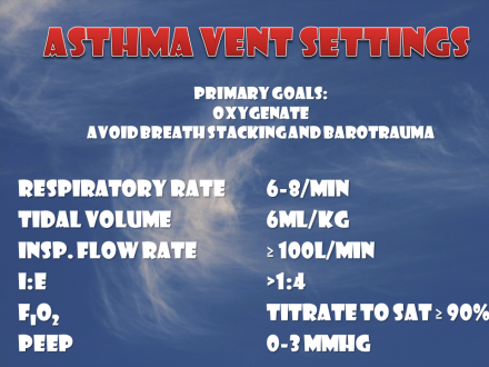 Summary of ventilator settings for the severe asthma patients