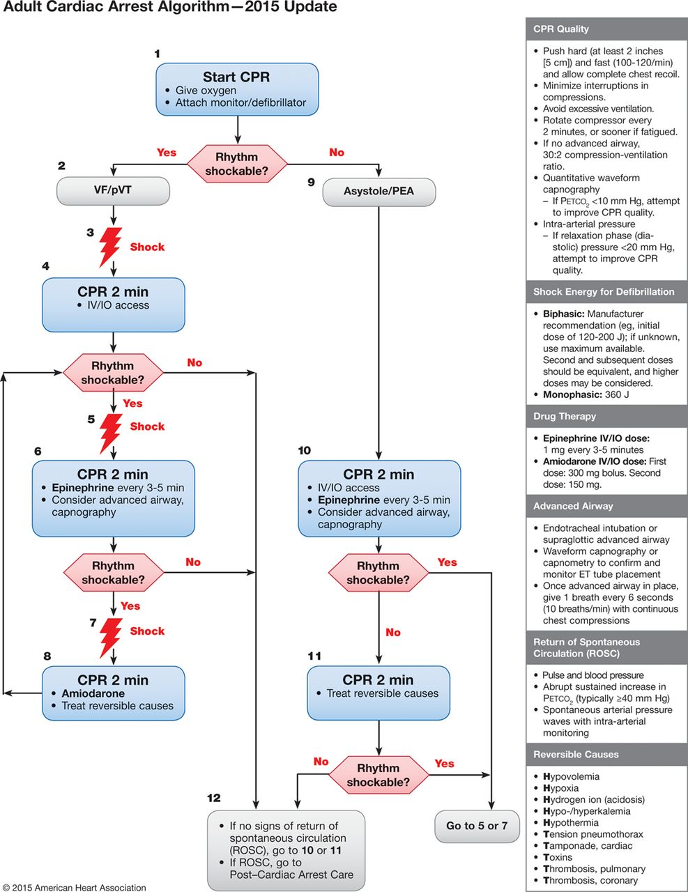 The 2015 ILCOR/AHA/ERC advanced life support guidelines